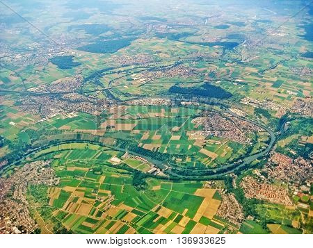 River Neckar and typical german villagse surrounded by fields aerial view - near Ludwigsburg