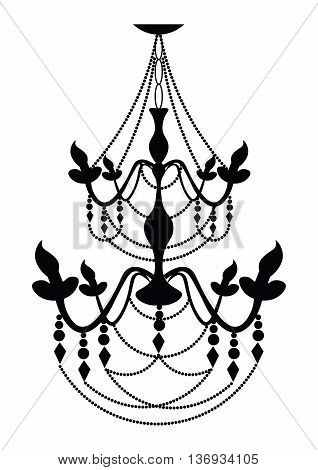 Vintage Classic chandelier on white background. Luxury decor accessory design. Vector illustration sketch