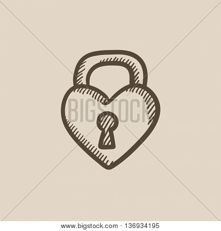 Lock shaped heart vector sketch icon isolated on background. Hand drawn Lock shaped heart icon. Lock shaped heart sketch icon for infographic, website or app.
