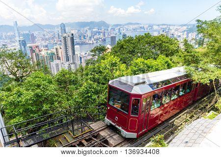 Peak Tram and Hong Kong city skyline