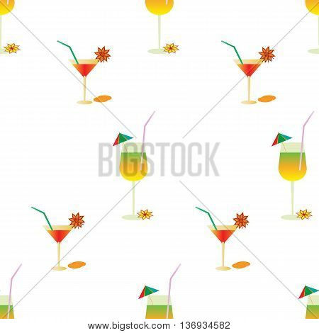 Summer pattern with cocktails. Vector drink background