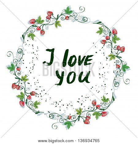 Love you postcard with nice floral design and strawberry - vector graphic illustration