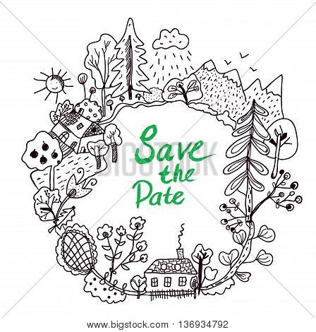 Save the date frame with doodle nature elements vector graphic illustration