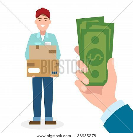 Money for delivery. Handsome male cartoon character. Delivery man gets money. Hand holding dollars for boxes. Happy smiling supplier or delivery aget.