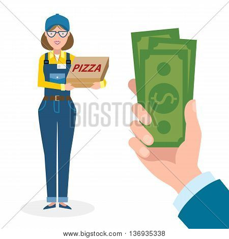 Money for delivery. Female cartoon character. Pizza woman gets money. Hand holding dollars for pizza. Happy smiling pizza girl. Pizza restaurant. Fast delivery.