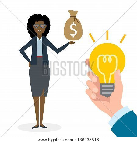 Businesswoman buy idea. Beautiful african american businesswoman has money bag. Selling new ideas, getting money. Funding concept.