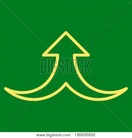 Together Arrow Up vector icon. Style is stroke icon symbol, yellow color, green background.