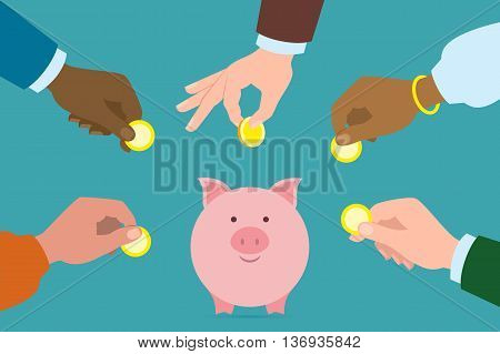 Putting golden coins in piggy bank. Investment, payment, savings your earnings. Multicultural hands. Caucasian, african american, indian, asian. Different ethnicities. Around the world.