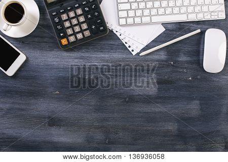 Wooden Office Desk Topview
