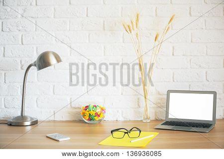 Hipster Desktop On White Brick