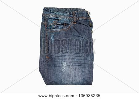 Blue old jean isolated on white background.