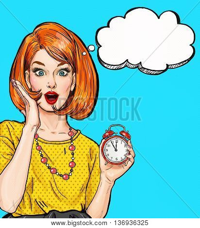 Surprised Pop Art girl with clock  with thought bubble. Party invitation. Birthday card. Hollywood, movie star. Comic woman. Sexy girl.