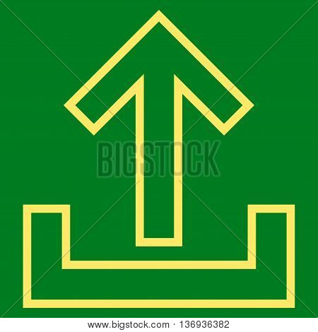 Upload vector icon. Style is contour icon symbol, yellow color, green background.