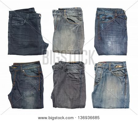 Jeans collection sets isolated on white background.