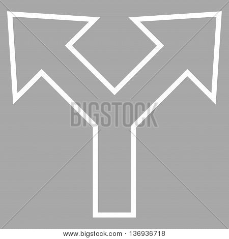 Bifurcation Arrow Left Right vector icon. Style is stroke icon symbol, white color, silver background.