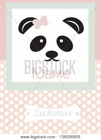 Invitation Card retro dotted pattern background. Vector Panda bear card for birthday party ceremony. Pink color Retro card