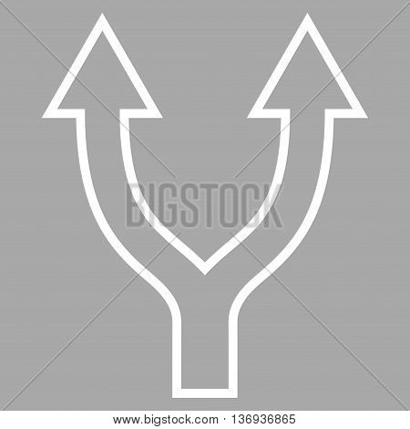 Bifurcation Arrow Up vector icon. Style is thin line icon symbol, white color, silver background.