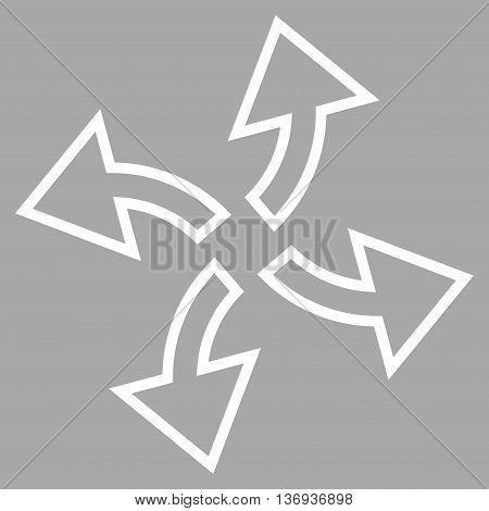 Centrifugal Arrows vector icon. Style is outline icon symbol, white color, silver background.