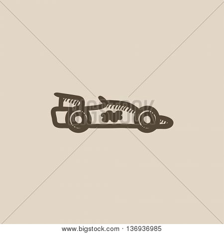 Race car vector sketch icon isolated on background. Hand drawn Race car icon. Race car sketch icon for infographic, website or app.