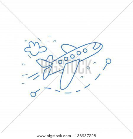 Plane And Its Route Marked By Dotted Line Hand Drawn Childish Illustration In Funny Comic Style On White Background