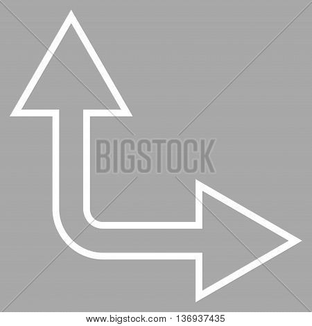 Choice Arrow Right Up vector icon. Style is thin line icon symbol, white color, silver background.