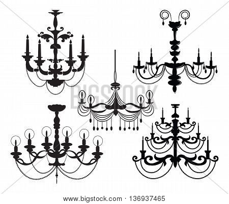 Classic Luxury black chandelier set on white background. Luxury decor accessory design. Vector illustration sketch