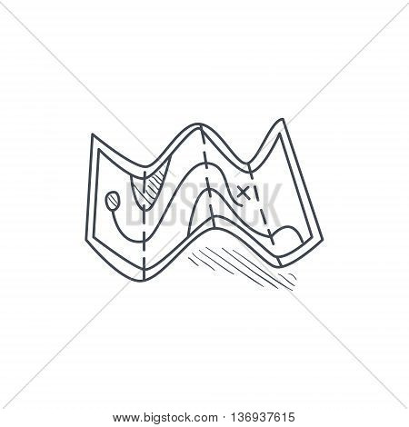 Half Folded Paper Map Hand Drawn Childish Illustration In Funny Comic Style On White Background