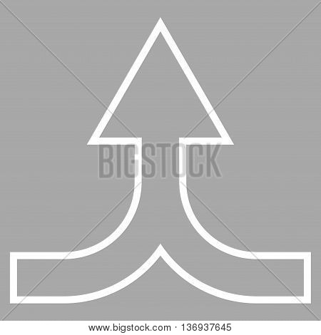 Combine Arrow Up vector icon. Style is thin line icon symbol, white color, silver background.