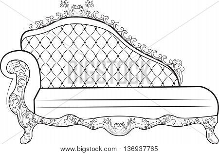 Vintage Baroque Sofa with luxurious ornaments. Elegant Baroque style furniture. Vector