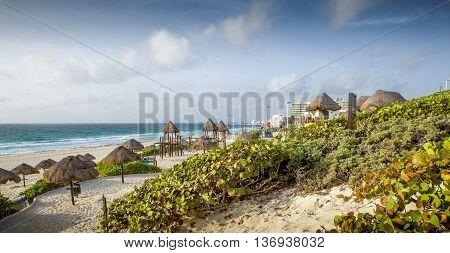 Sandy beach in Cancun city - Mexico