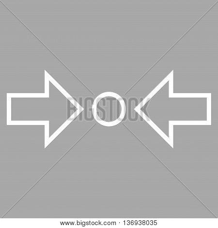 Compress Horizontal vector icon. Style is contour icon symbol, white color, silver background.