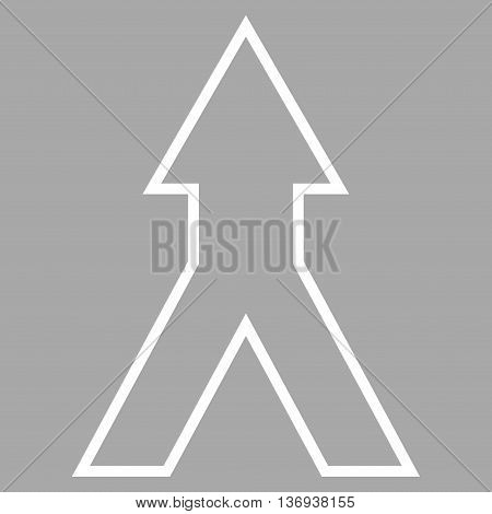 Connect Arrow Up vector icon. Style is contour icon symbol, white color, silver background.