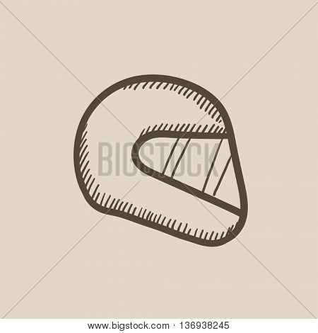 Motorcycle helmet vector sketch icon isolated on background. Hand drawn Motorcycle helmet icon. Motorcycle helmet sketch icon for infographic, website or app.