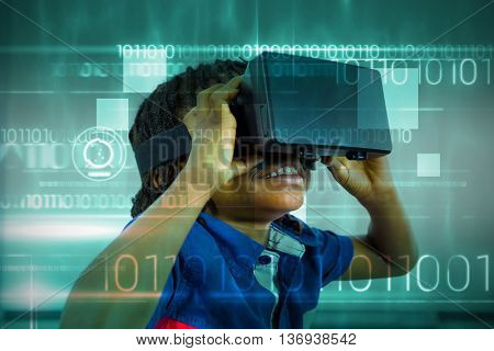 Blue technology design with binary code against elementary girl looking through virtual reality headset in school library