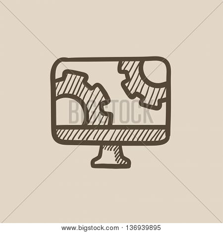 Computer monitor with gears vector sketch icon isolated on background. Hand drawn Computer monitor with gears icon. Computer monitor with gears sketch icon for infographic, website or app.