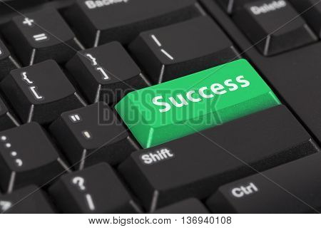 Keyboard with the word success on green button.