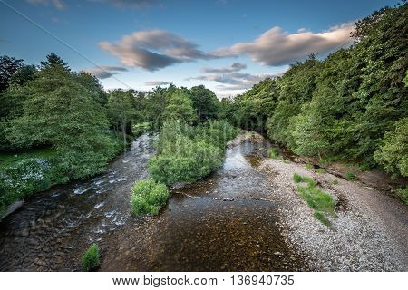 River Coquet from Felton Bridge. Felton, being a small village in Northumberland