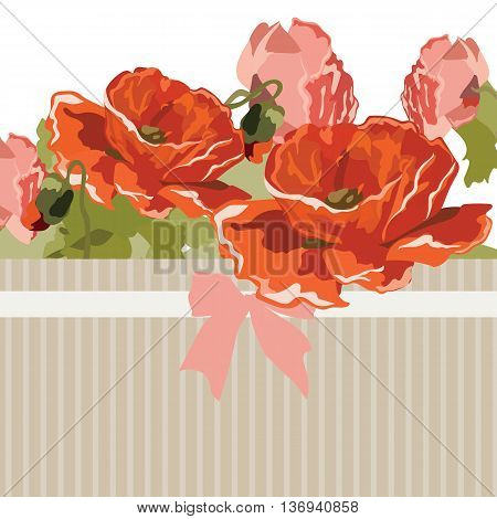 Vintage Watercolor poppy flowers Card with bow. Vector Retro delicate card for special occasions. Beautiful texture of embossed lines with bow tie