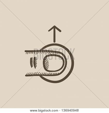 Drag up touch screen gesture vector sketch icon isolated on background. Hand drawn drag up touch screen gesture icon. Drag up touch screen gesture sketch icon for infographic, website or app.