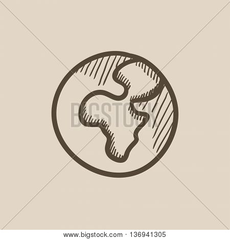 Globe vector sketch icon isolated on background. Hand drawn Globe icon. Globe sketch icon for infographic, website or app.