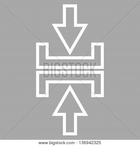 Pressure Arrows Vertical vector icon. Style is stroke icon symbol, white color, silver background.