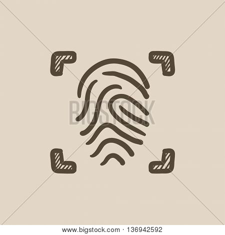 Fingerprint scanning vector sketch icon isolated on background. Hand drawn Fingerprint scanning icon. Fingerprint scanning sketch icon for infographic, website or app.