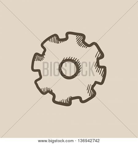 Gear vector sketch icon isolated on background. Hand drawn Gear icon. Gear sketch icon for infographic, website or app.