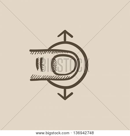 Drag vertically touch screen gesture vector sketch icon isolated on background. Hand drawn Drag vertically touch screen gesture icon. Drag vertically sketch icon for infographic, website or app.