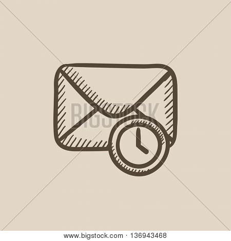 Envelope mail with clock vector sketch icon isolated on background. Hand drawn Envelope mail with clock icon. Envelope mail with clock sketch icon for infographic, website or app.