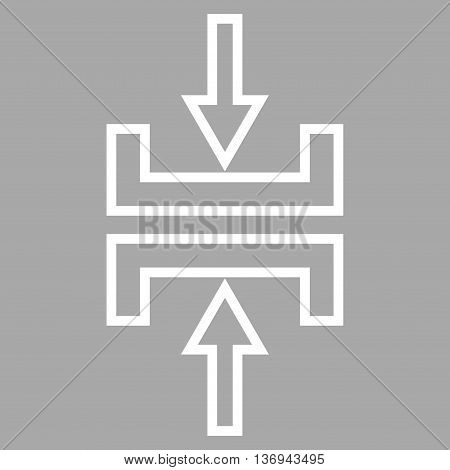 Pressure Vertical vector icon. Style is contour icon symbol, white color, silver background.