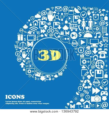3D Sign Icon. 3D-new Technology Symbol . Nice Set Of Beautiful Icons Twisted Spiral Into The Center
