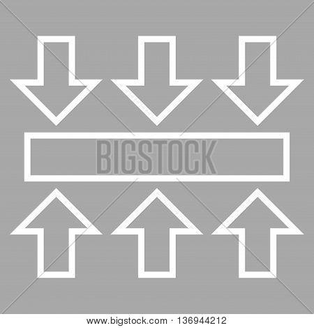 Pressure Vertical vector icon. Style is contour icon symbol, white color, silver background.