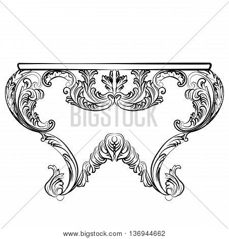 Exquisite Rich Rococo Table. French Luxury rich carved ornaments furniture. Vector Victorian Imperial Style furniture