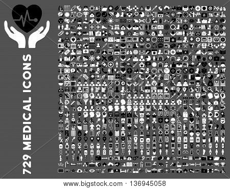 Medical Icon Set with 729 vector icons. Style is bicolor black and white flat icons isolated on a gray background.